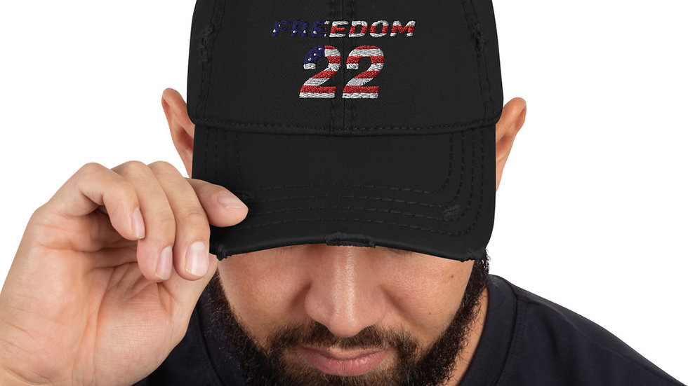 Freedom 22 for Veterans Distressed Ball Cap