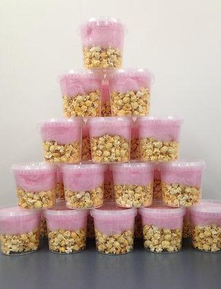 Combinatie emmertje popcorn suikerspin
