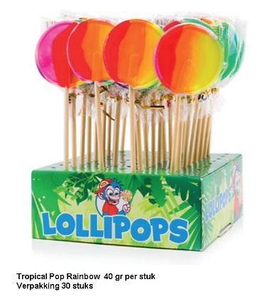Tropical rainbow lolly's display 30 stuks