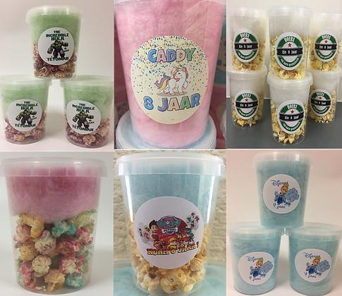 Traktatie beker 0.5 liter popcorn - suikerspin of combinatie
