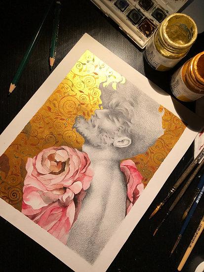 Muchacho con alas de rosas