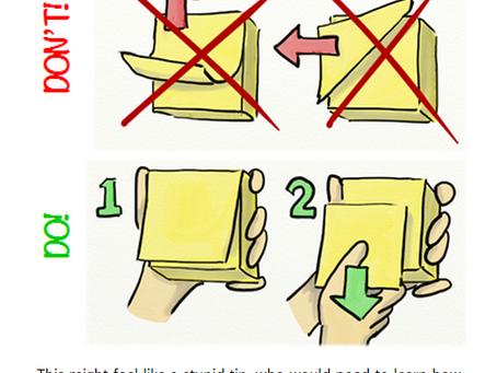 Как правильно отрывать Post It карточки