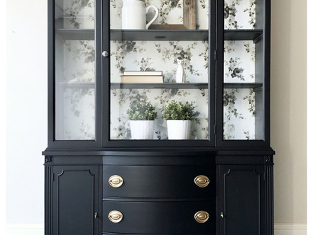 Update your China Cabinet and Bookshelves with Wallpaper