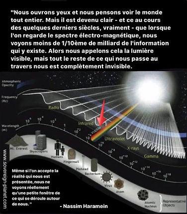 Spectre électro-magnétique, fréquences, lumière visible, citation, Nassim Haramein
