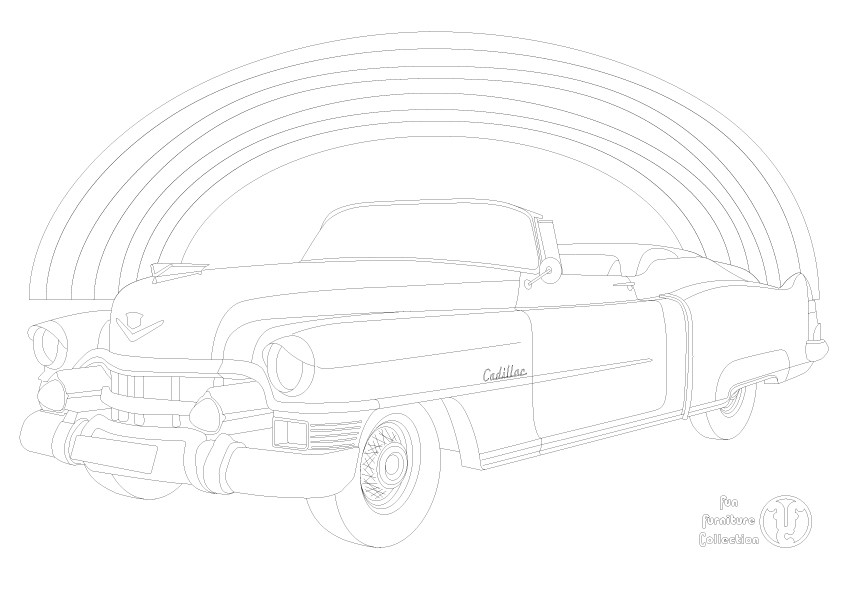Cadillac Eldorado 1953  car and rainbow picture to colour in by Fun Furniture Collection, home of theme beds, storage and toy boxes