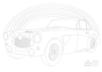 Austin Healey 3000 car and rainbow picture to colour in with Fun Furniture Collection, home of kids theme beds, toy boxes and storage