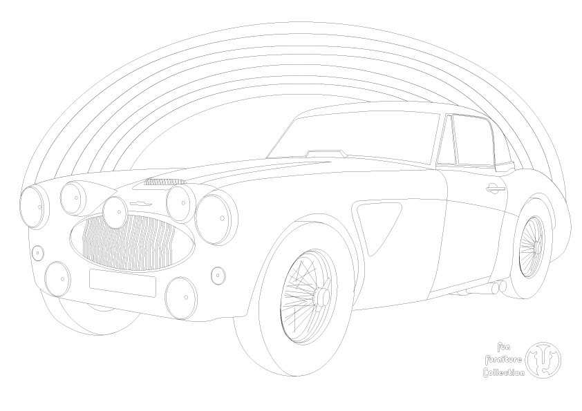 Austin Healey 3000 car and rainbow picture to colour in by Fun Furniture Collection, home of kids theme beds, storage and toy boxes