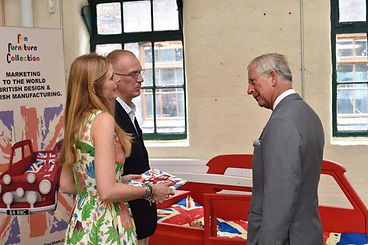 Llinos and Mark from Fun Furniture Collection meet HRH Prince of Wales showing him our designs and mini cooper kids theme single bed.