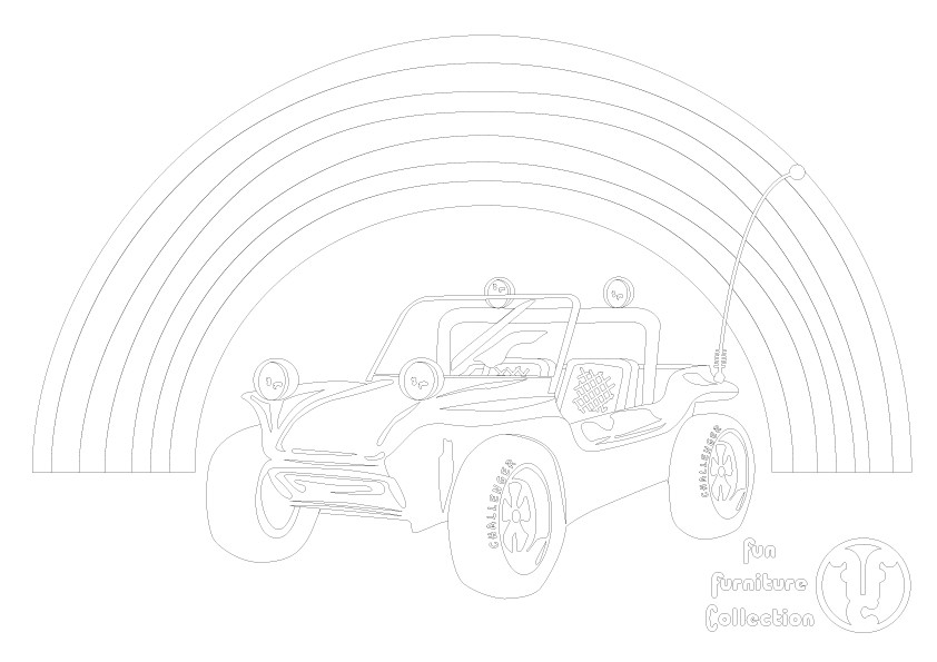 beach buggy picture to colour in by Fun Furniture Collection, home of theme beds, storage and toy boxes