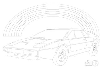 Lotus Esprit 1975 car and rainbow picture to colour in by Fun Furniture Collection, home of children's theme beds, toy boxes and storage