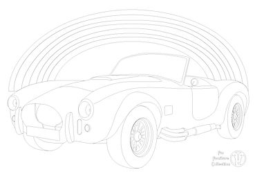 AC Cobra 427 (1965) car and rainbow picture to colour in with Fun Furniture Collection, home of kids theme beds, toy boxes and storage