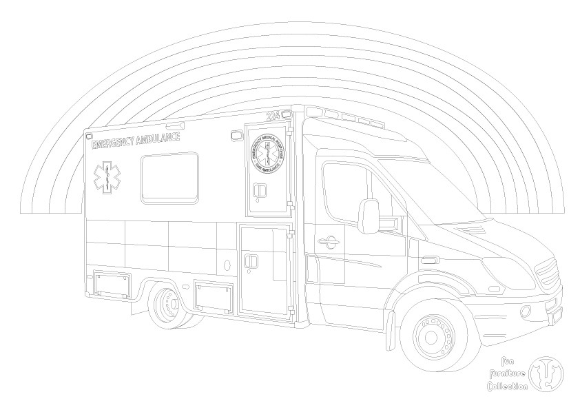 ambulance picture to colour in by Fun Furniture Collection, home of theme beds, storage and toy boxes