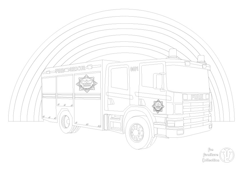 Fire Engine picture to colour in by Fun Furniture Collection, home of theme beds, storage and toy boxes