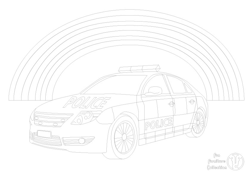 police car picture to colour in by Fun Furniture Collection, home of theme beds, storage and toy boxes