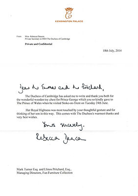 Letter from Kensington Palace and the Dutches of Cambridge thanking us for Prince George's Camper van Large Toy chest presented to HRH Prince Charles The Prince of Wales when he met Fun Furniture Collection during a visit to Stoke on Trent where they spoke about the kids theme single bed and toy boxes