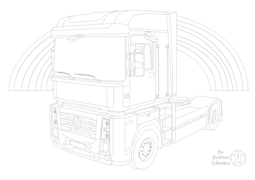 Renault Magnum truck and rainbow picture to colour in by Fun Furniture Collection, home of theme beds, storage and toy boxes