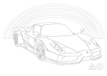 ferrari enzo supercar and rainbow picture to colour in by Fun Furnitre Collection, home of theme beds, toy boxes and storage