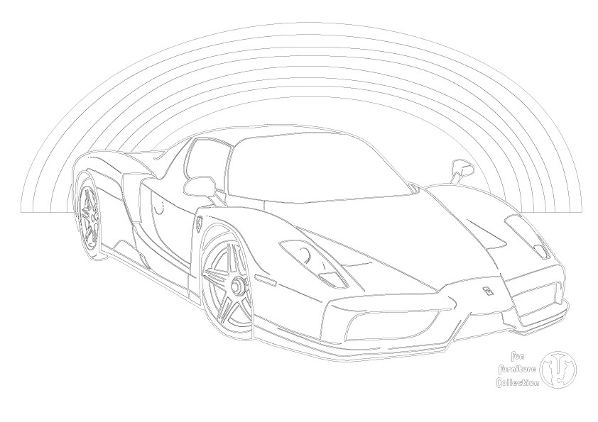 Ferrari Enzo and rainbow  picture to colour in by Fun Furniture Collection, home of theme beds, storage and toy boxes