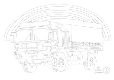 army truck and rainbow picture to colour in with Fun Furniture Collection, home of theme bed, toy boxes and storage