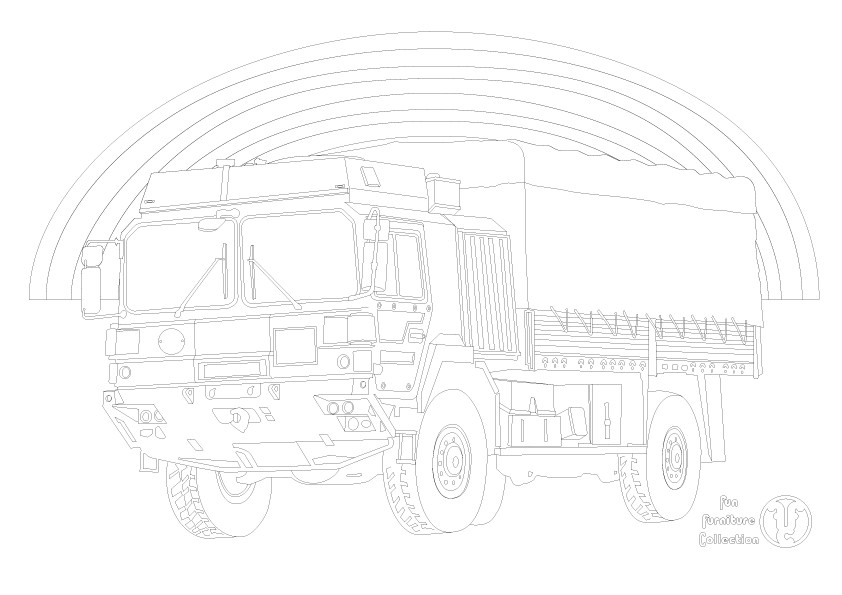 Army truck  and rainbow picture to colour in by Fun Furniture Collection, home of theme beds, storage and toy boxes