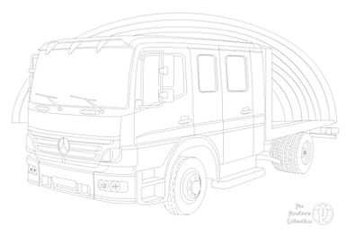 Mercedes Atego truck and rainbow to colour in, by Fun Furniture Collection, home of Kids theme beds, toy boxes and storage