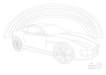 jaguar F type car picture and rainbow to colour in with Fun Furniture Collection, home of theme beds, toy boxes and storage