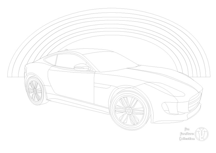 Jaquar F type and rainbow picture to colour in by Fun Furniture Collection, home of theme beds, storage and toy boxes