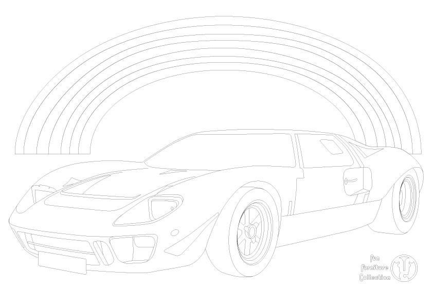 Ford GT40 car and rainbow picture to colour in by Fun Furniture Collection, home of kids theme beds, storage and toy boxes