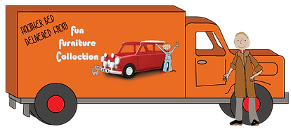 Cartoon type picture showing Mark in a Fun furniture Collection delivery van as we can install and deliver all over the UK and export worldwide.