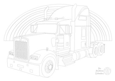 Kenworth W900L truck and rainbow picture to colour in with Fun Furniture Collection, home of theme bed for children, toy boxes and storage.