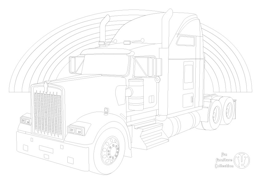Kenworth W900L truck and rainbow picture to colour in by Fun Furniture Collection, home of theme beds, storage and toy boxes