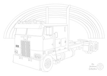 peterbilt 352 cabover and rainbow to colour in with Fun Furniture Collection, home of kids theme bed, toy boxes and storage