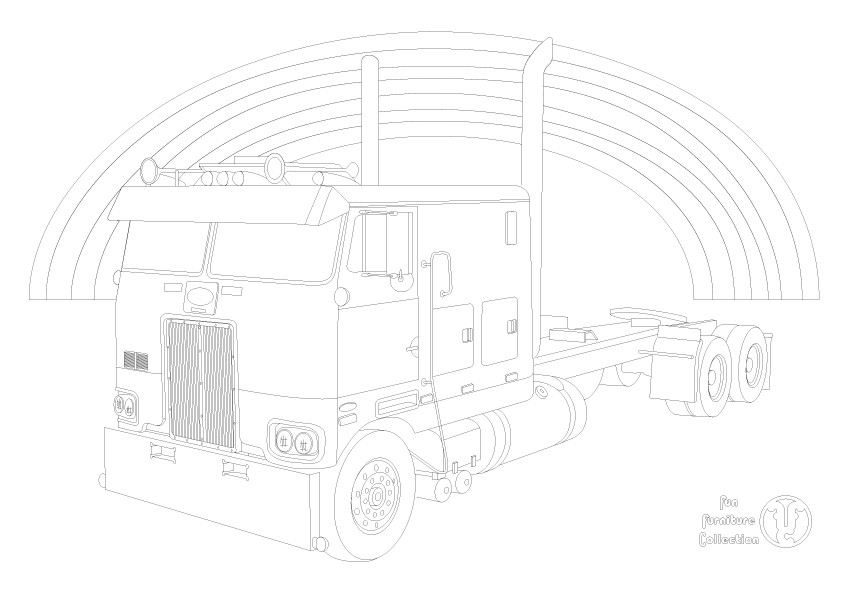 Peterbilt 352 cabover truck and rainbow picture to colour in by Fun Furniture Collection, home of theme beds, storage and toy boxes