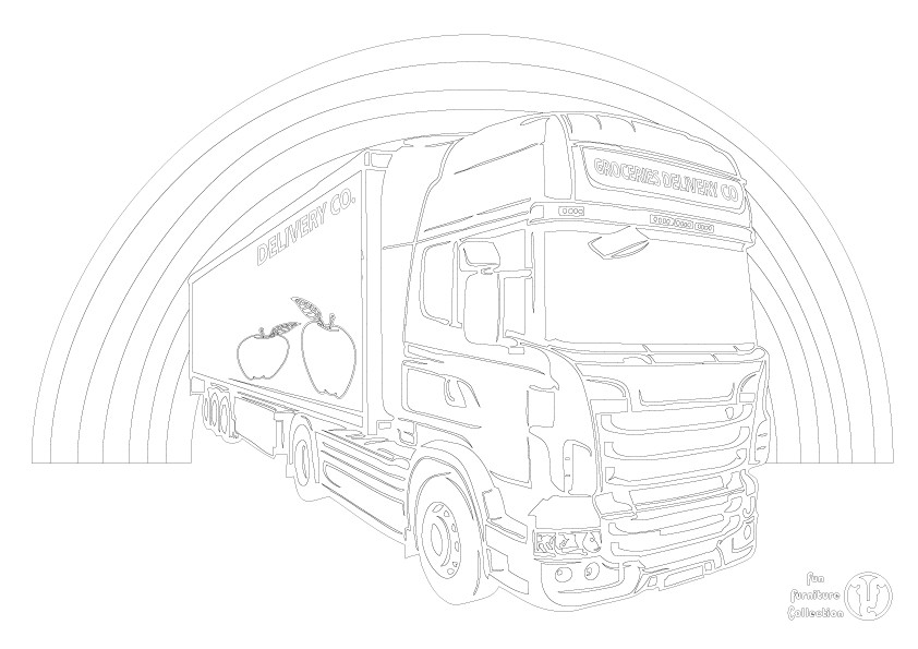 Truck and rainbow picture to colour in by Fun Furniture Collection, home of theme beds, storage and toy boxes