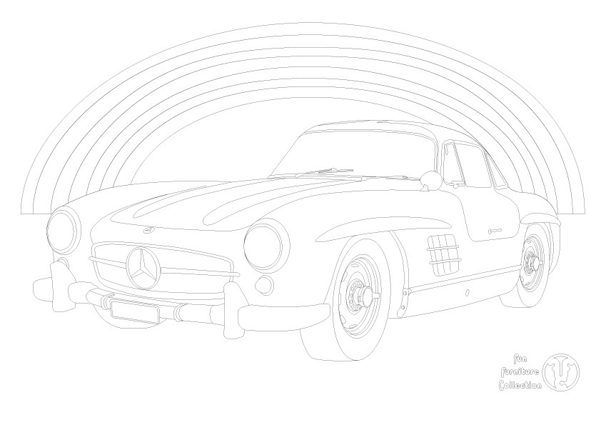 Mercedes 300sl Gullwing and rainbow  picture to colour in by Fun Furniture Collection, home of theme beds, storage and toy boxes