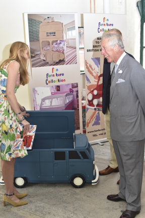 Mark Turner and Llinos Mair Pritchard founders and owners of Fun Furniture Collection meets HRH Prince Charles and discusses their company and  handmaking kids theme single and bunk bed. The Camper Van Toy Chest was presented to HRH Prince of Wales for Prince George's first birthday