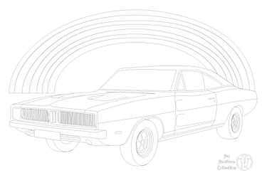 Dodge Charger RT (1969) car and rainbow picture to colour in with Fun Furniture Collection, home of kids theme beds, toy boxes and storage.