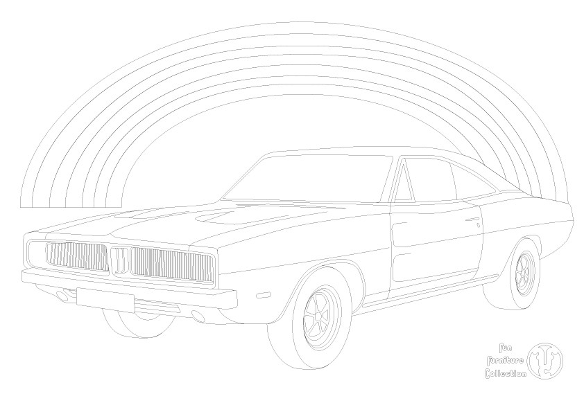 Dodge Charger RT (1969) car and rainbow picture to colour in by Fun Furniture Collection, home of theme beds, storage and toy boxes