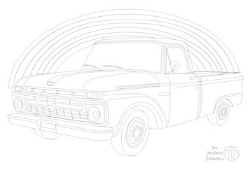 Ford F100 pickup and rainbow picture to colour in with Fun Furniture Collection, home of kids theme beds, toy boxes and storage