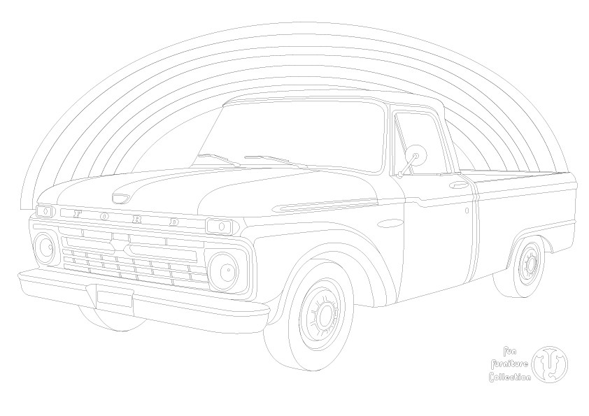 Ford F100 Pick up and rainbow picture to colour in by Fun Furniture Collection, home of theme beds, storage and toy boxes