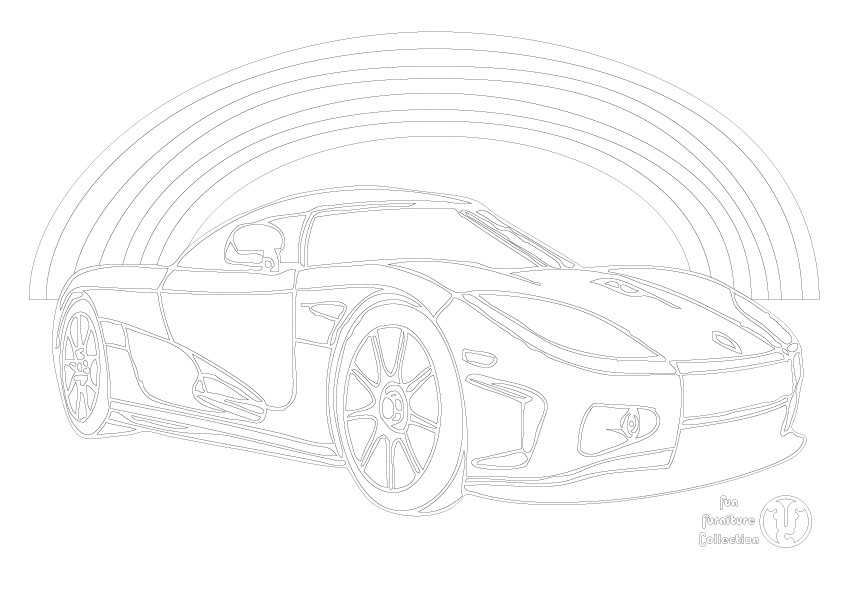 Koenigsegg super car and rainbow picture to colour in by Fun Furniture Collection, home of theme beds, storage and toy boxes