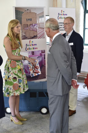 Mark Turner and Llinos Mair Pritchard founders and owners of Fun Furniture Collection meets HRH Prince of Wales and discusses their company of handmaking kids theme single and bunk bed
