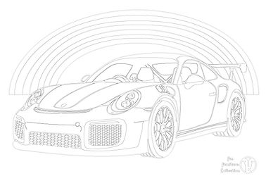 porsche car and rainbow pictur  to colour in with Fun Furniture Collection, home of theme beds, toy boxes and storage