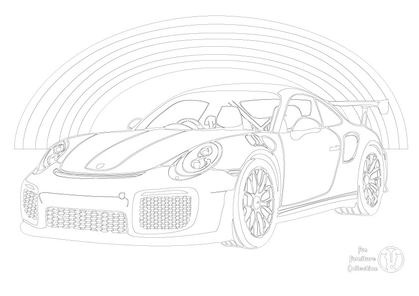 Free Porsche and rainbow picture to colour in by Fun Furniture Collection, home of theme beds, storage and toy boxes
