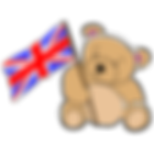 Teddy bear waving British flag. All our items are handmade in Britain.