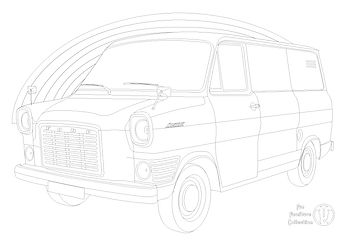 Ford Transit custom Mk1 van and rainbow picture to colour in with Fun Furniture Collection, home of kids theme beds, toy boxes and storage
