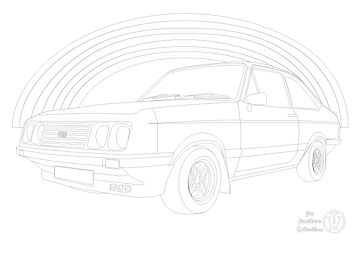 Escort RS2000 Mk2 and rainbow picture to colour in by Fun Furniture Collection, home of kids theme beds, toy boxes and storage