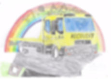 AA recovery truck coloured in, line drawing by Fun Funiture Collection, home of children's theme beds, storage and toy boxes