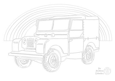 land rover series one and rainbw picture to colour in with FUn furnitur Collection, home of childrens theme bds, toy boxes and storage