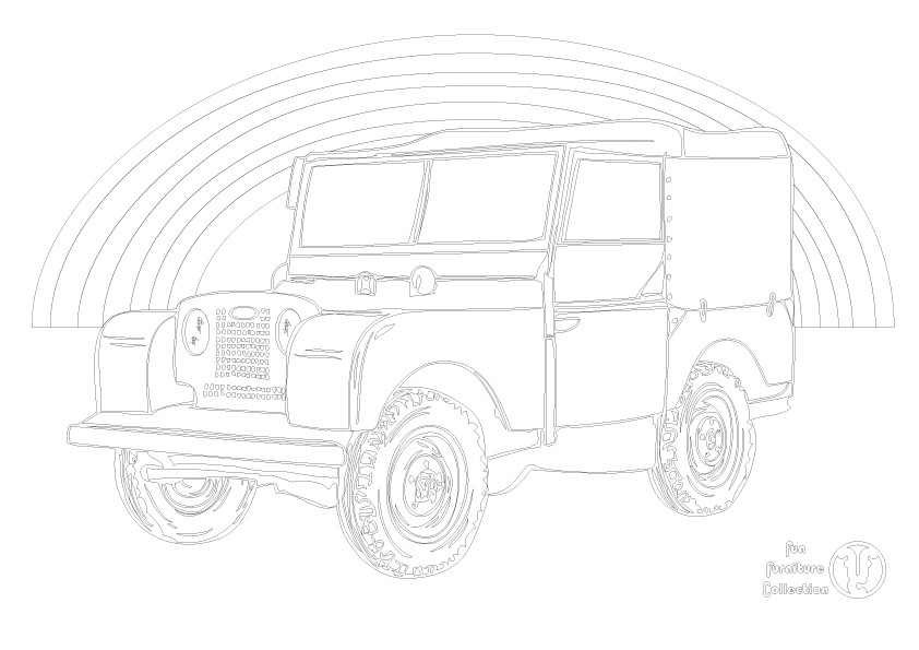 Land Rover Series 1 and rainbow picture to colour in by Fun Furniture Collection, home of theme beds, storage and toy boxes